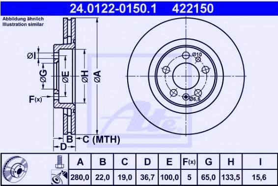 Disk prednji ventilirajući 22X280 Audi A3, Golf 4, 1997- ATE, 1J0615301E-1j0615301P, 24.0122-0150.1