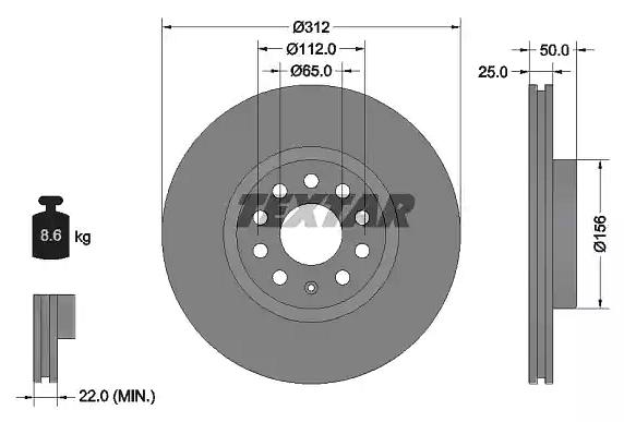 Disk prednji ventilirajući 25X312 VW PASAT Golf 5 TEXTAR, 1K0615301AA, 92120505